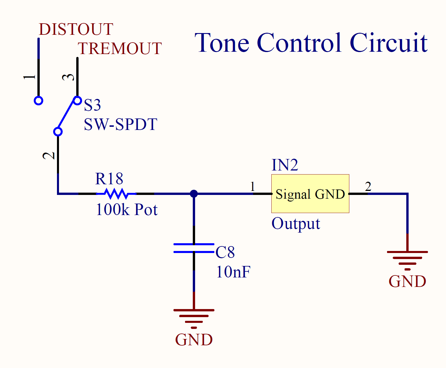 Cuno Drive Effects Pedal Dylan Ohs Technical Portfolio Low Pass Filter Circuit Diagram Tone Control This Was Meant To Be An Output Signal Conditioning Whereby The Formed By R18 Potentiometer And C8 Would