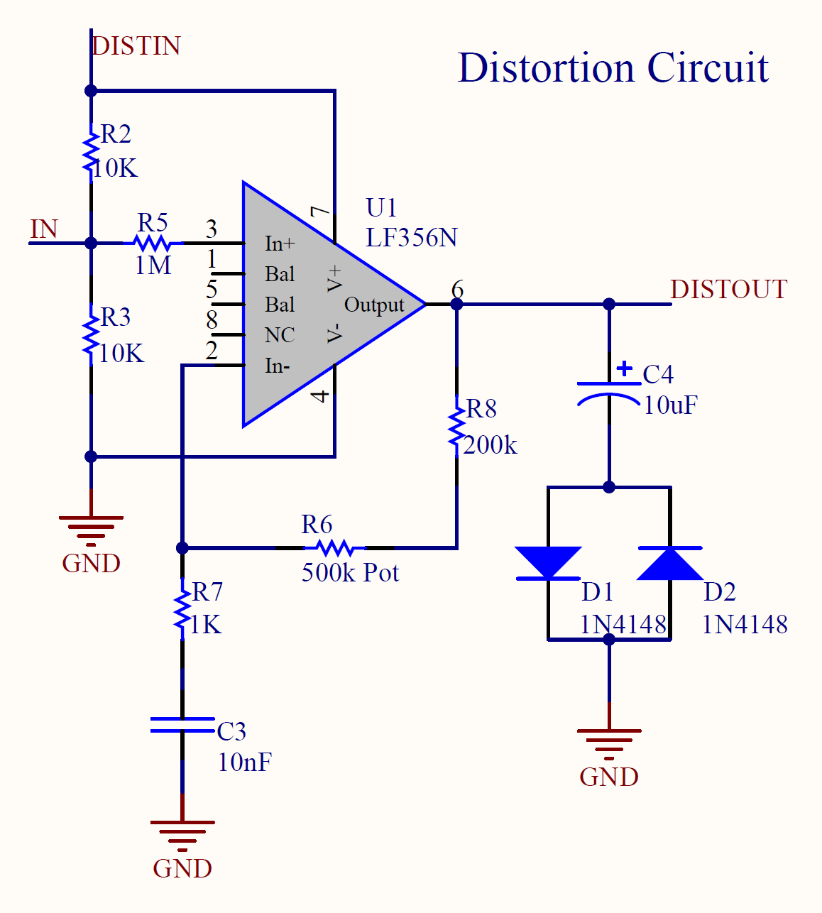 Cuno Drive Effects Pedal Dylan Ohs Technical Portfolio High Pass Filter Circuit Diagram And Uses A Low To Attenuate Frequency Radio Signals The Other Capacitor Prevents Dc Voltage From Going Back Into Guitar